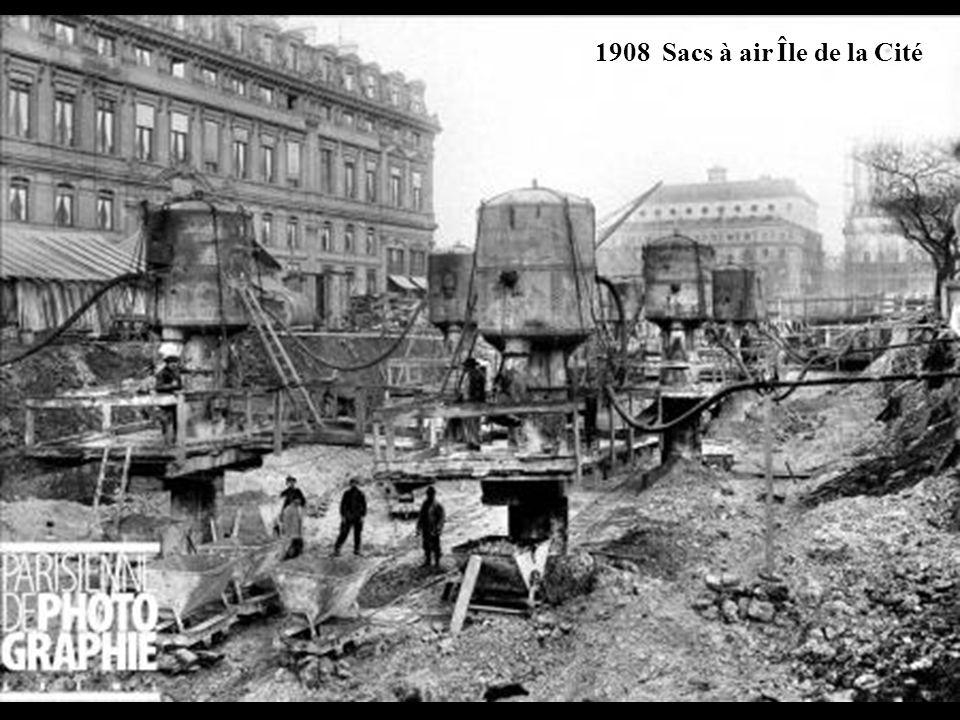 1907 Sac à air permettant aux ouvriers souterrains de respirer.