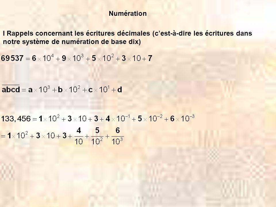 Numération I Rappels concernant les écritures décimales (cest-à-dire les écritures dans notre système de numération de base dix)