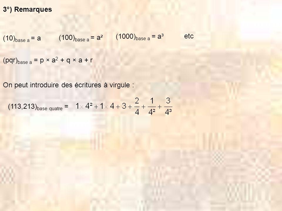 III Changements de base 1°) Pour passer dune écriture utilisant une autre base que la base dix à lécriture décimale (cest facile) : Exemples : 2°) Pour passer dune écriture décimale à une écriture utilisant une autre base que la base dix (cest moins facile) : Exemple : On veut écrire 1257 en base huit 1 2 5 7 8 4 5 1 5 5 7 7 1 8 1 7 7 9 5 8 2 3 8 0 2