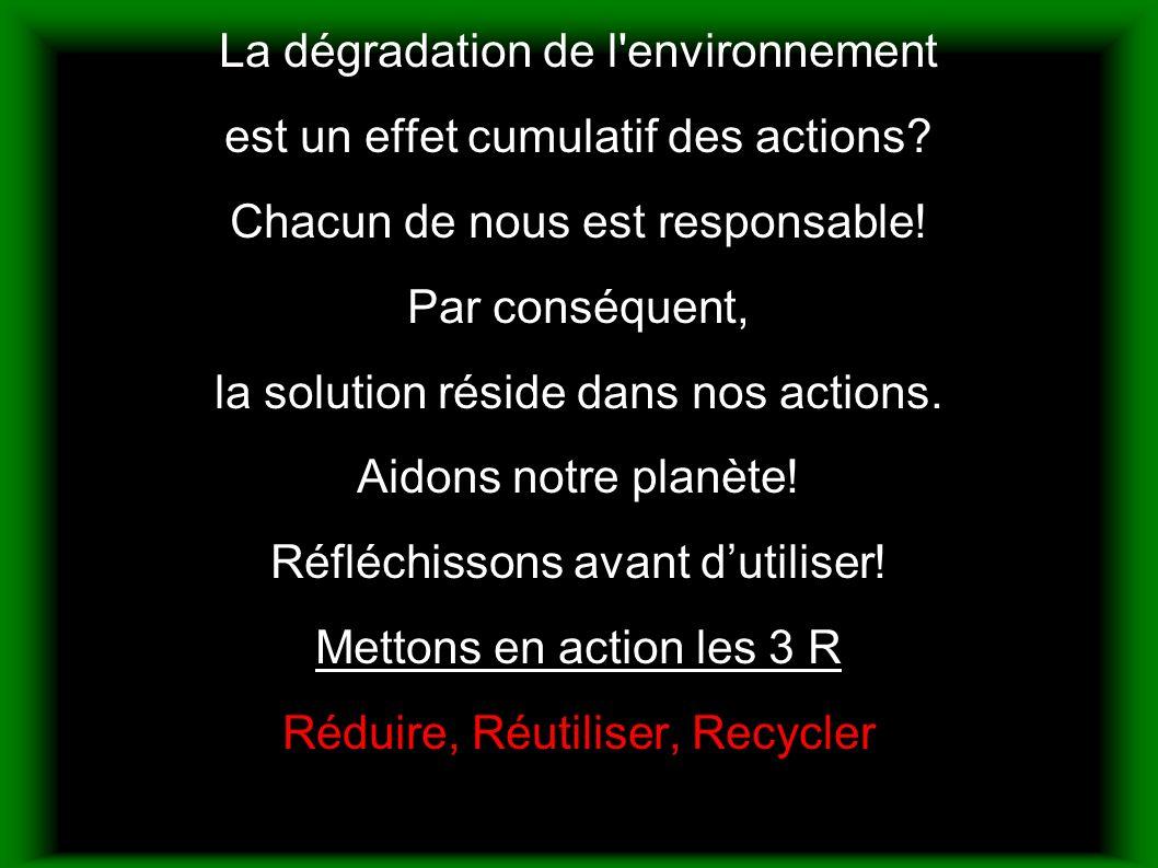 La dégradation de l environnement est un effet cumulatif des actions.