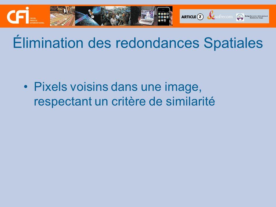 Élimination des redondances Spatiales Pixels voisins dans une image, respectant un critère de similarité