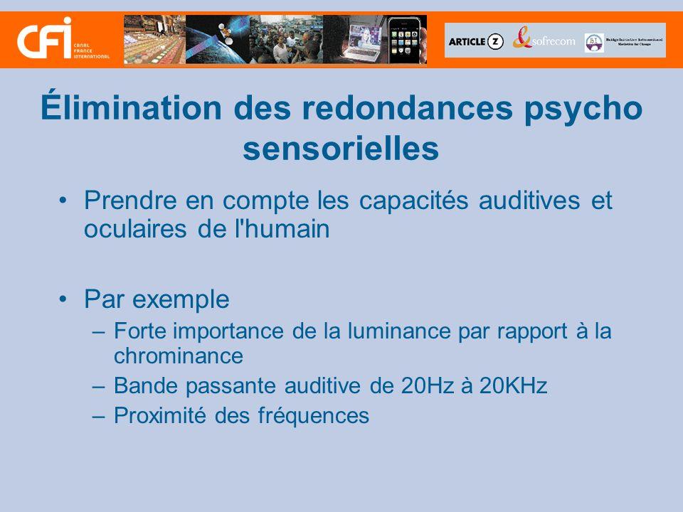 Élimination des redondances psycho sensorielles Prendre en compte les capacités auditives et oculaires de l'humain Par exemple –Forte importance de la