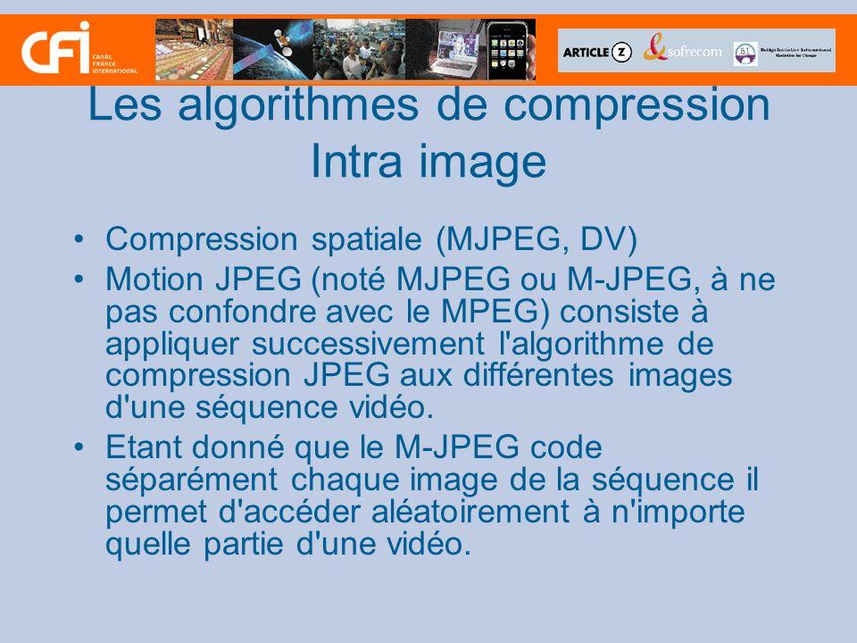 Les algorithmes de compression Intra image Compression spatiale (MJPEG, DV) Motion JPEG (noté MJPEG ou M-JPEG, à ne pas confondre avec le MPEG) consis