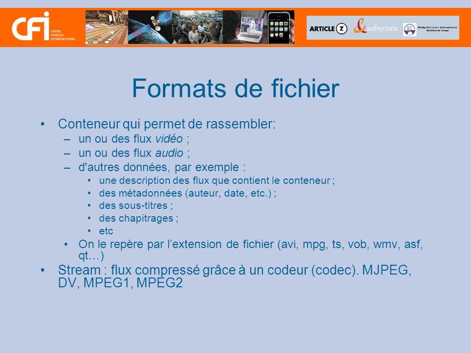 Formats de fichier Conteneur qui permet de rassembler: –un ou des flux vidéo ; –un ou des flux audio ; –d'autres données, par exemple : une descriptio