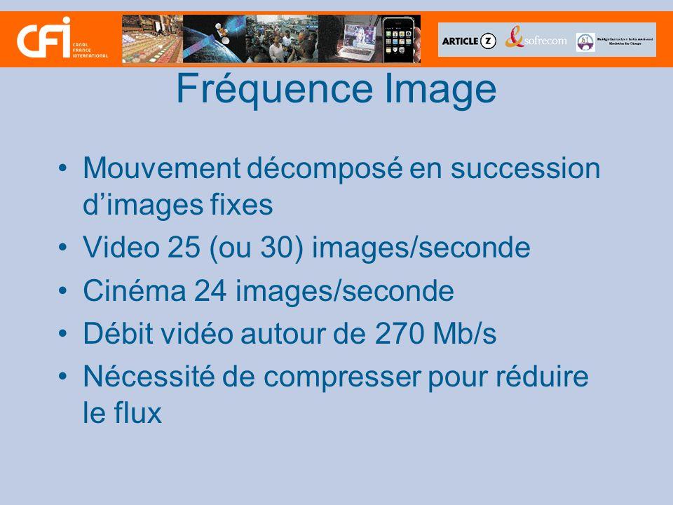 Fréquence Image Mouvement décomposé en succession dimages fixes Video 25 (ou 30) images/seconde Cinéma 24 images/seconde Débit vidéo autour de 270 Mb/