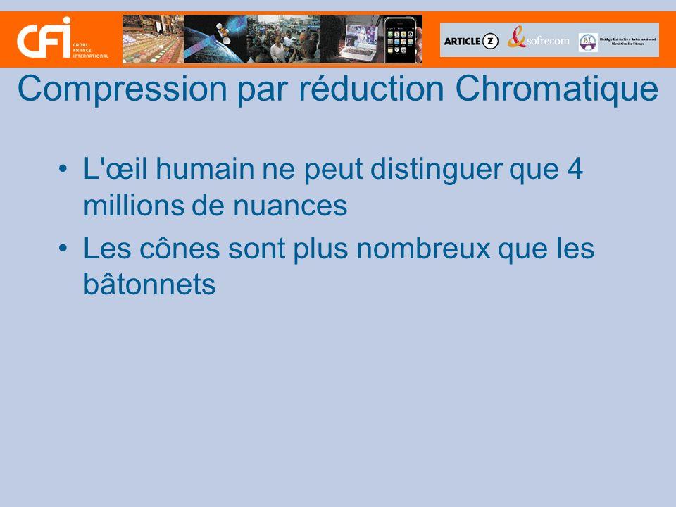 Compression par réduction Chromatique L'œil humain ne peut distinguer que 4 millions de nuances Les cônes sont plus nombreux que les bâtonnets