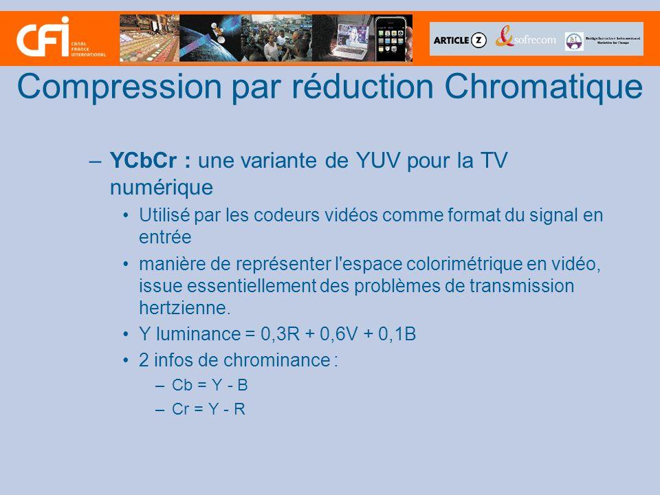 –YCbCr : une variante de YUV pour la TV numérique Utilisé par les codeurs vidéos comme format du signal en entrée manière de représenter l'espace colo