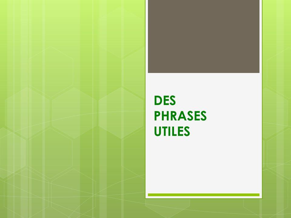 DES PHRASES UTILES