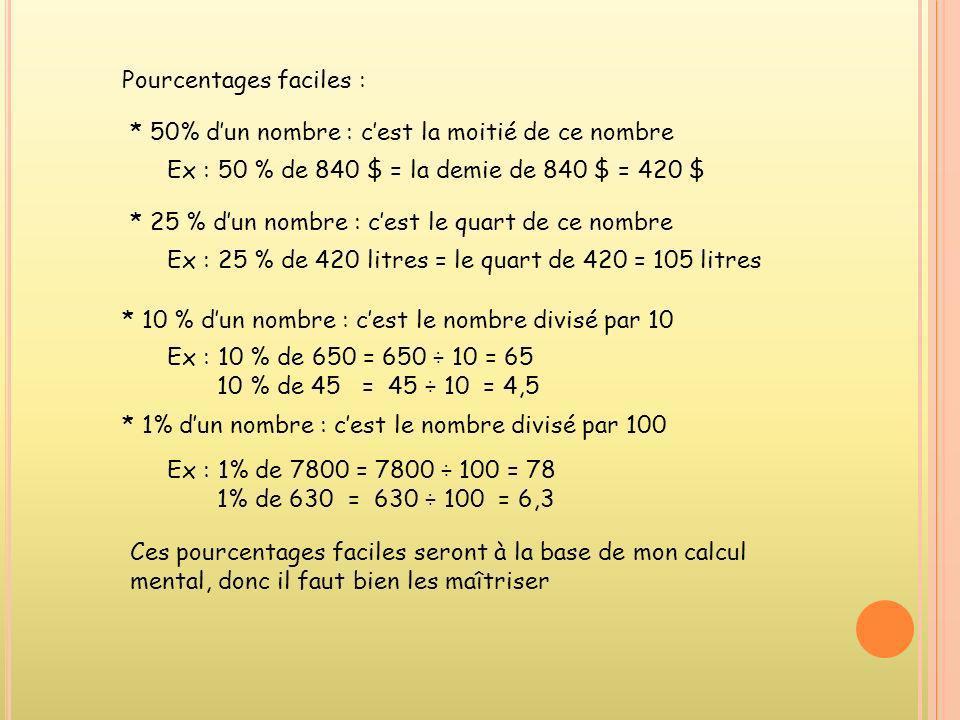 Pourcentages faciles : * 50% dun nombre : cest la moitié de ce nombre Ex : 50 % de 840 $ = la demie de 840 $ = 420 $ * 25 % dun nombre : cest le quart