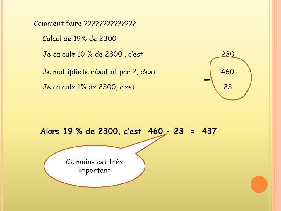 Comment faire ?????????????? Calcul de 19% de 2300 Je calcule 10 % de 2300, cest 230 Je multiplie le résultat par 2, cest 460 Je calcule 1% de 2300, c
