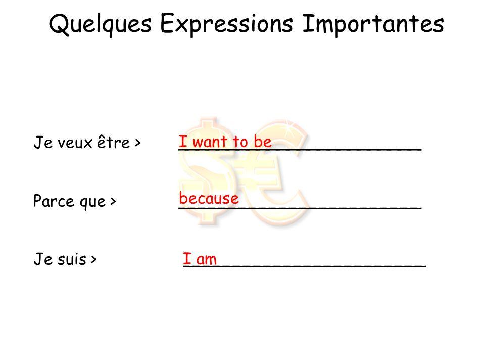 Quelques Verbes Importants JeNous TuVous Il/ElleIls/Elles Vouloir= _______________ to want veux veut voulons voulez veulent