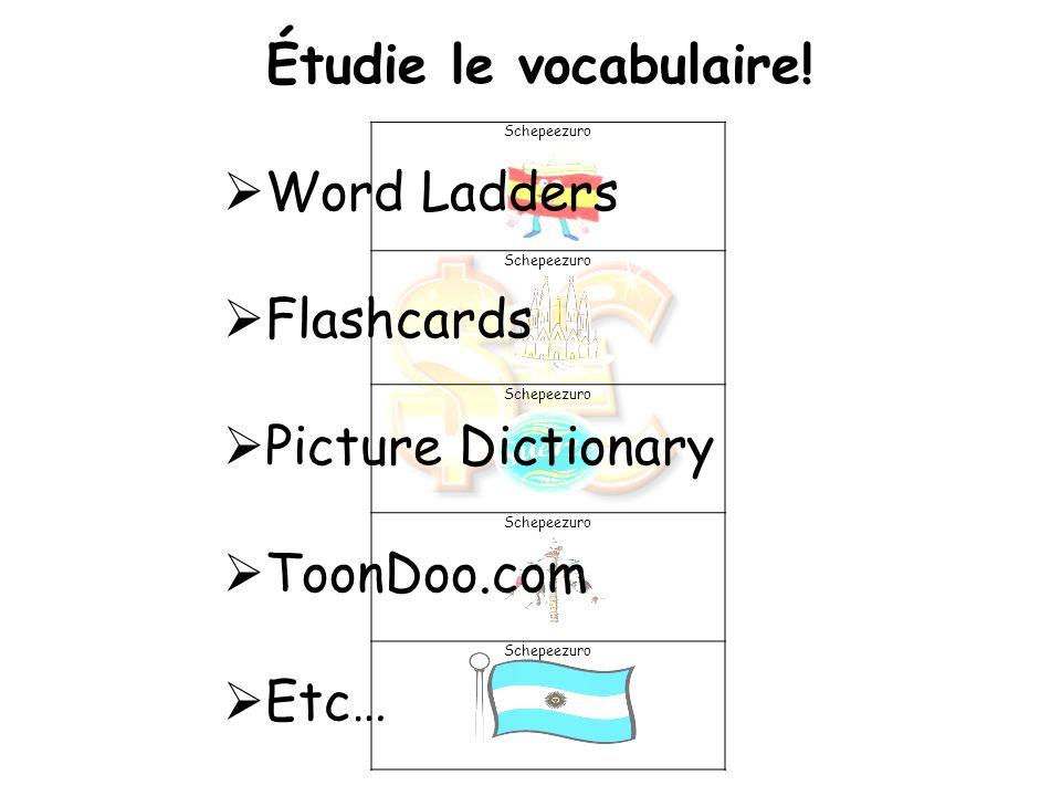 Schepeezuro Étudie le vocabulaire! Word Ladders Flashcards Picture Dictionary ToonDoo.com Etc…
