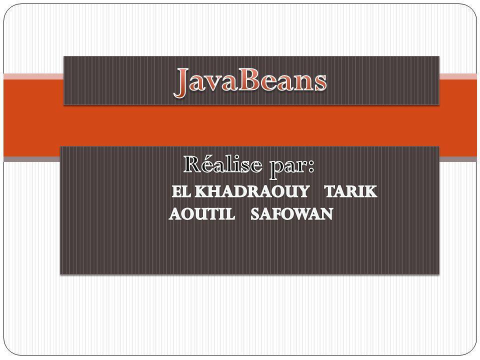 Plan Définition Intérêt Structure dun Bean Caractéristiques Propriétés Evénements Comment utilisé un javaBean depuis une page jsp Exemples Conclusion