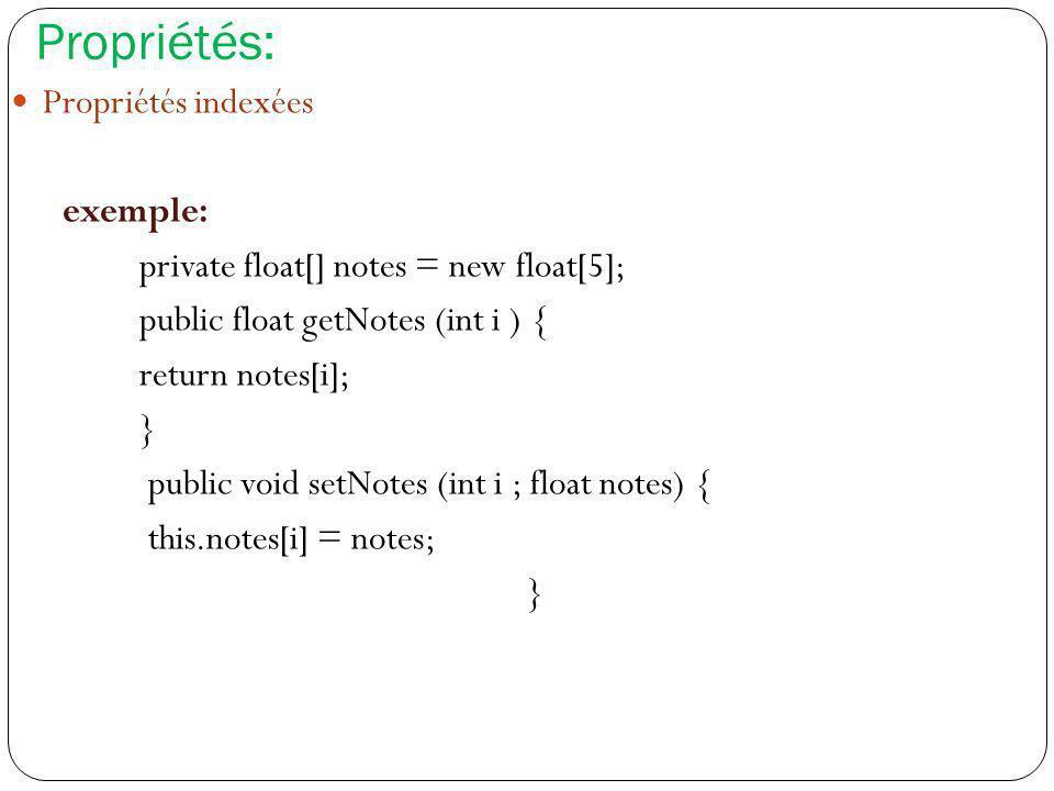 Propriétés: Propriétés indexées exemple: private float[] notes = new float[5]; public float getNotes (int i ) { return notes[i]; } public void setNote
