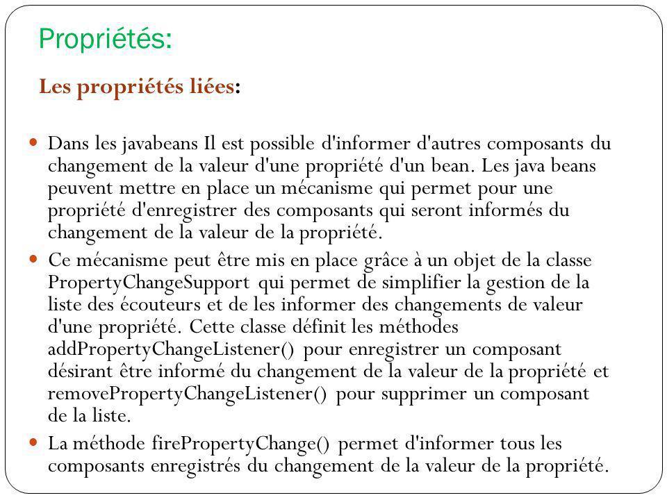 Propriétés: Les propriétés liées: Dans les javabeans Il est possible d'informer d'autres composants du changement de la valeur d'une propriété d'un be