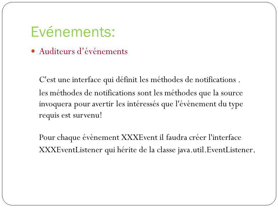 Evénements: Auditeurs dévénements C'est une interface qui définit les méthodes de notifications. les méthodes de notifications sont les méthodes que l