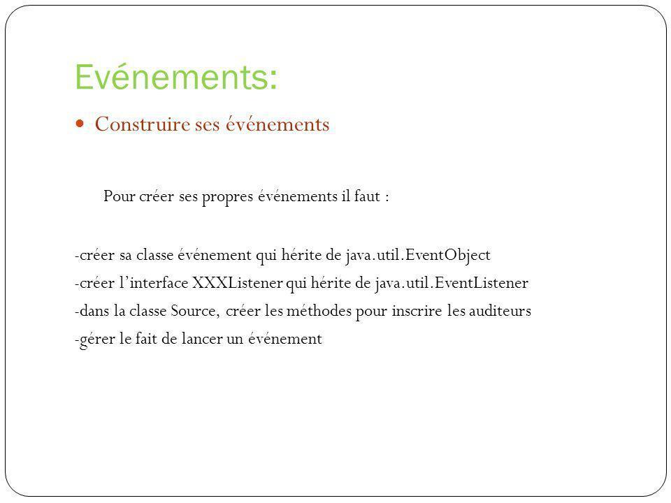 Evénements: Construire ses événements Pour créer ses propres événements il faut : -créer sa classe événement qui hérite de java.util.EventObject -crée