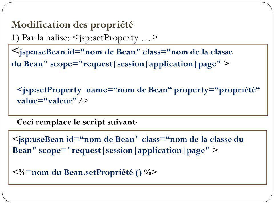 Modification des propriété 1) Par la balise: Ceci remplace le script suivant :