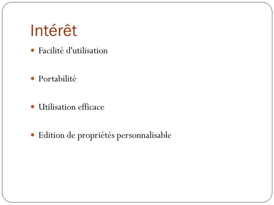 Intérêt Facilité d'utilisation Portabilité Utilisation efficace Edition de propriétés personnalisable