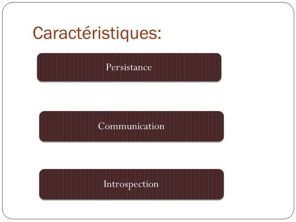 Caractéristiques: Persistance Introspection Communication