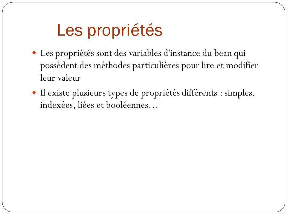Les propriétés Les propriétés sont des variables d'instance du bean qui possèdent des méthodes particulières pour lire et modifier leur valeur Il exis