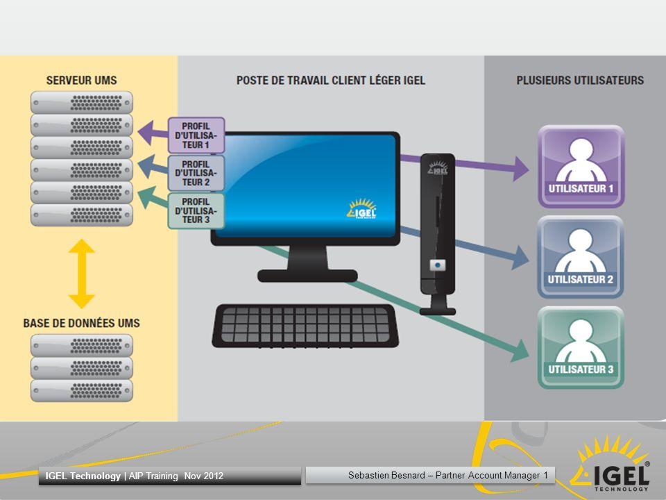 Sebastien Besnard – Partner Account Manager 22 IGEL Technology   AIP Training Nov 2012 New UDC Le but o Vieille plateforme non supportées (i.e.