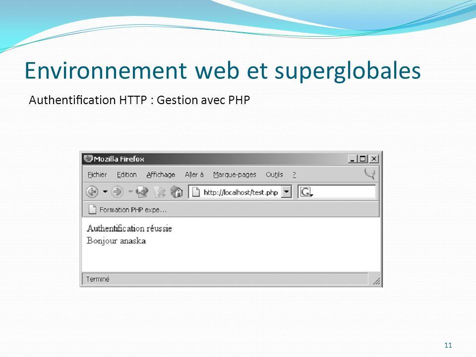 Authentication HTTP : Gestion avec PHP Environnement web et superglobales 11