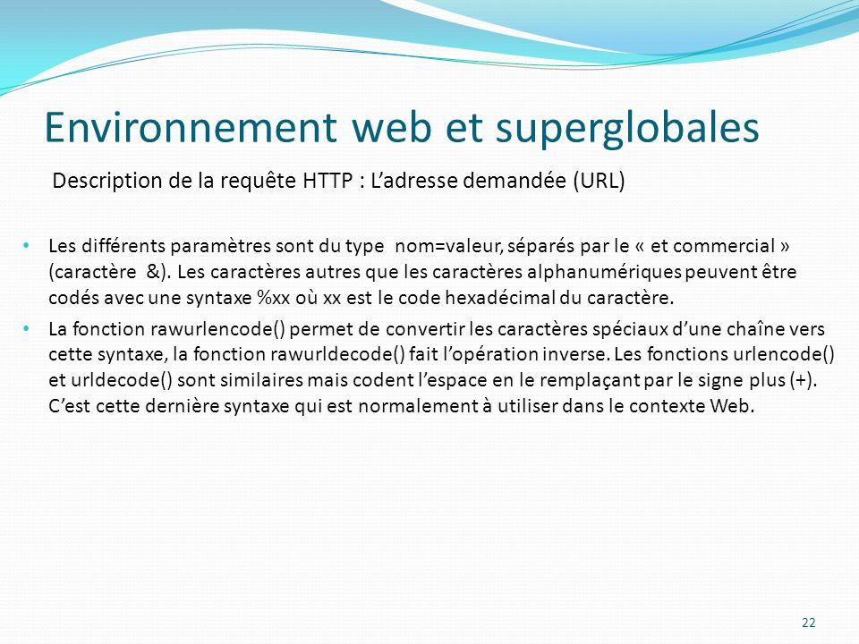 Description de la requête HTTP : Ladresse demandée (URL) Environnement web et superglobales 22 Les différents paramètres sont du type nom=valeur, séparés par le « et commercial » (caractère &).