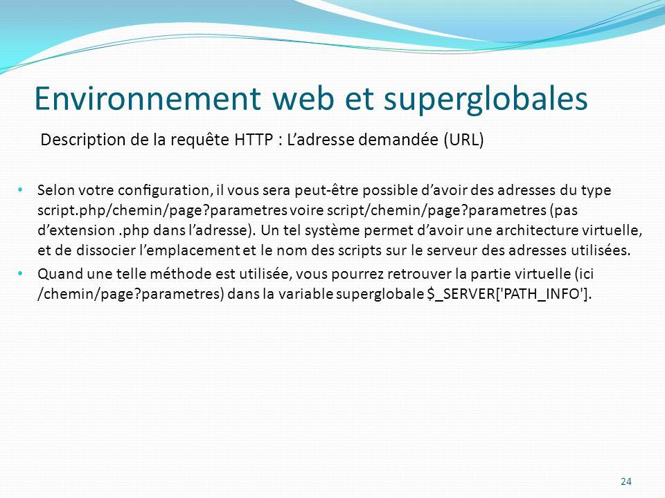 Description de la requête HTTP : Ladresse demandée (URL) Environnement web et superglobales 24 Selon votre conguration, il vous sera peut-être possible davoir des adresses du type script.php/chemin/page?parametres voire script/chemin/page?parametres (pas dextension.php dans ladresse).