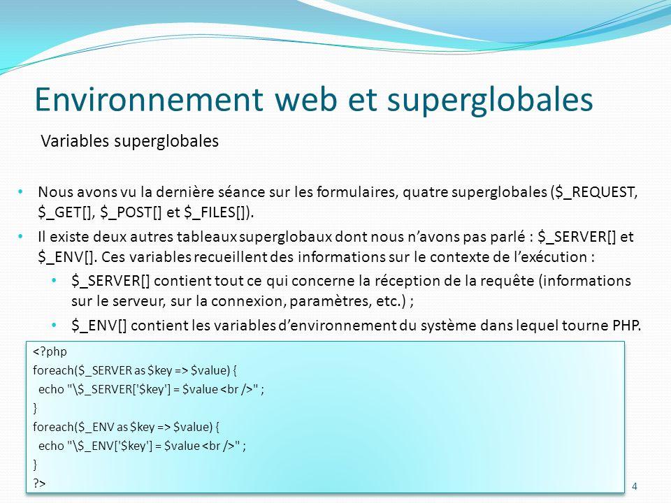 Variables superglobales Environnement web et superglobales 4 Nous avons vu la dernière séance sur les formulaires, quatre superglobales ($_REQUEST, $_GET[], $_POST[] et $_FILES[]).