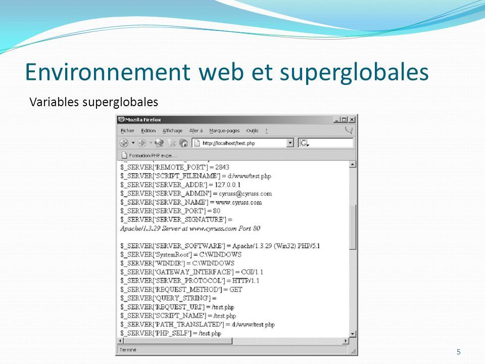 Description de la requête HTTP : Informations fournies par le client Environnement web et superglobales 26 Depuis HTTP 1.1, les clients web envoient diverses informations sur les contenus quils savent gérer où quils préfèrent recevoir.