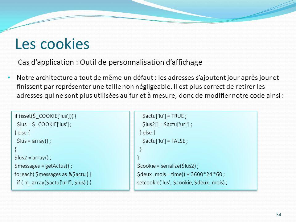 Les cookies 54 Notre architecture a tout de même un défaut : les adresses sajoutent jour après jour et finissent par représenter une taille non négligeable.
