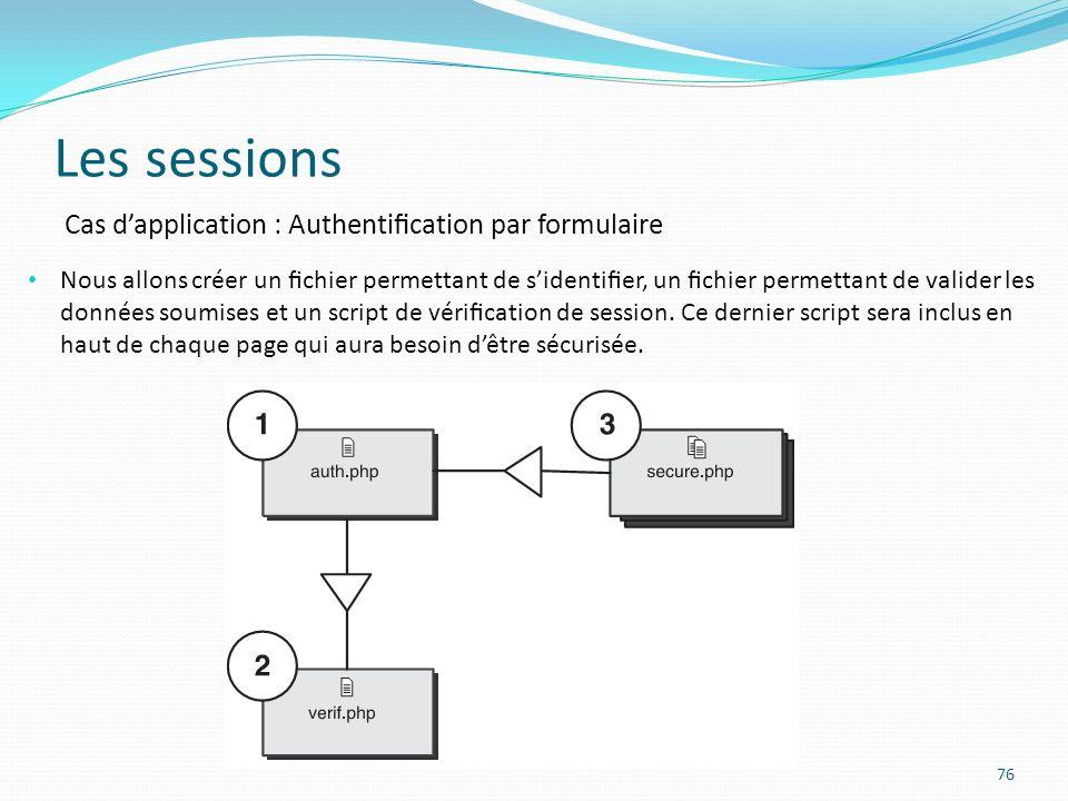 Les sessions 76 Cas dapplication : Authentication par formulaire Nous allons créer un chier permettant de sidentier, un chier permettant de valider les données soumises et un script de vérication de session.