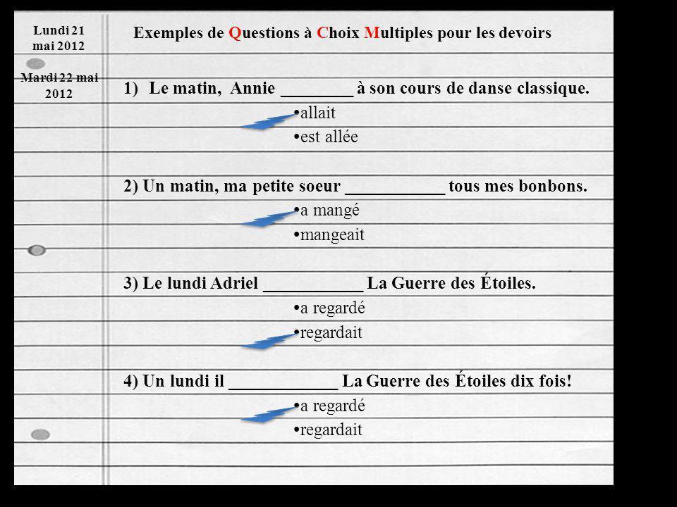 Imparfait and Passé Composé Indicators Chart Lundi 21 mai 2012 Mardi 22 mai 2012 La Page Dix Sept IMPARFAITPASSÉ COMPOSÉ 1.Le matin Tous les matins 2.