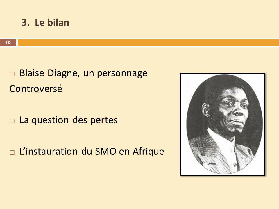 3. Le bilan Blaise Diagne, un personnage Controversé La question des pertes Linstauration du SMO en Afrique 10