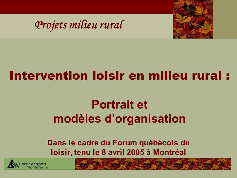 Projets milieu rural Intervention loisir en milieu rural : Portrait et modèles dorganisation Dans le cadre du Forum québécois du loisir, tenu le 8 avr
