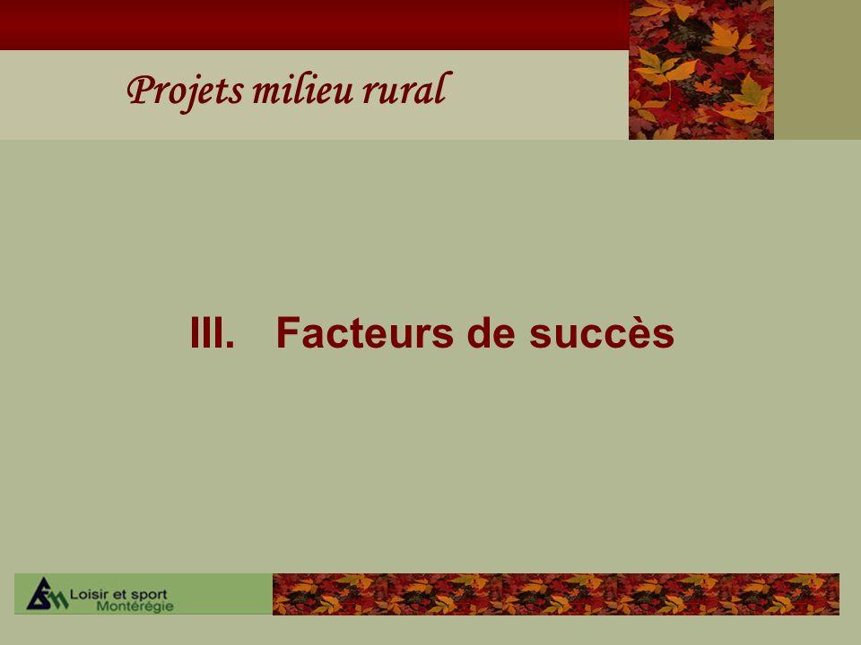 Projets milieu rural III.Facteurs de succès