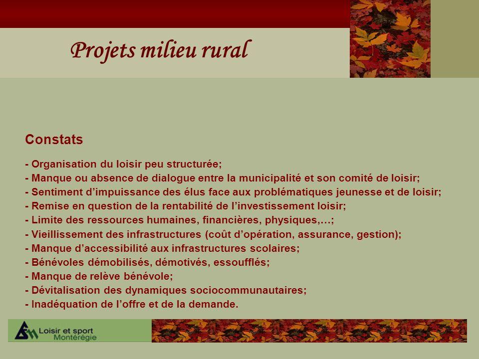Projets milieu rural Constats - Organisation du loisir peu structurée; - Manque ou absence de dialogue entre la municipalité et son comité de loisir;
