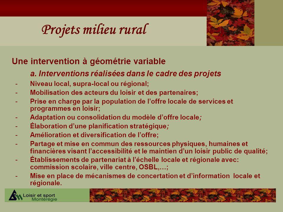 Projets milieu rural Une intervention à géométrie variable a. Interventions réalisées dans le cadre des projets -Niveau local, supra-local ou régional