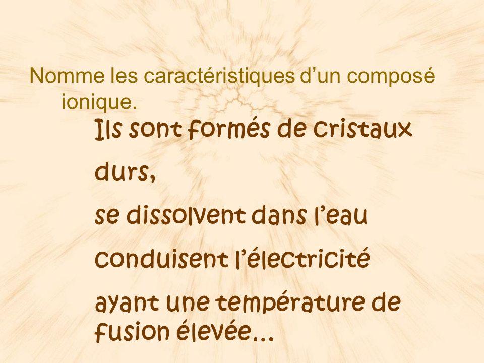 Nomme les caractéristiques dun composé ionique.