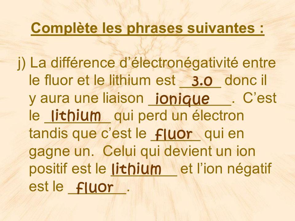 Complète les phrases suivantes : j) La différence délectronégativité entre le fluor et le lithium est _____ donc il y aura une liaison __________.