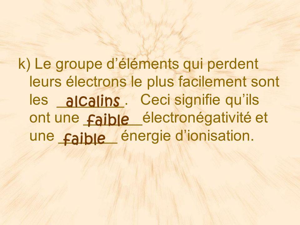 k) Le groupe déléments qui perdent leurs électrons le plus facilement sont les ________.