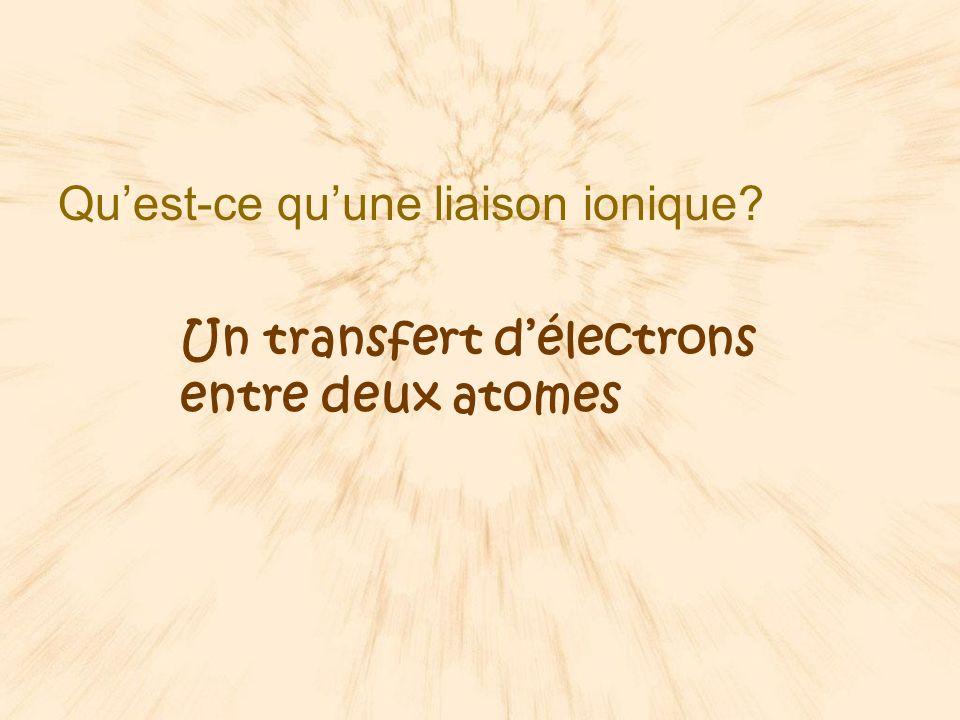 Quelle sorte de particules sont formées lors de la liaison ionique? Des ions