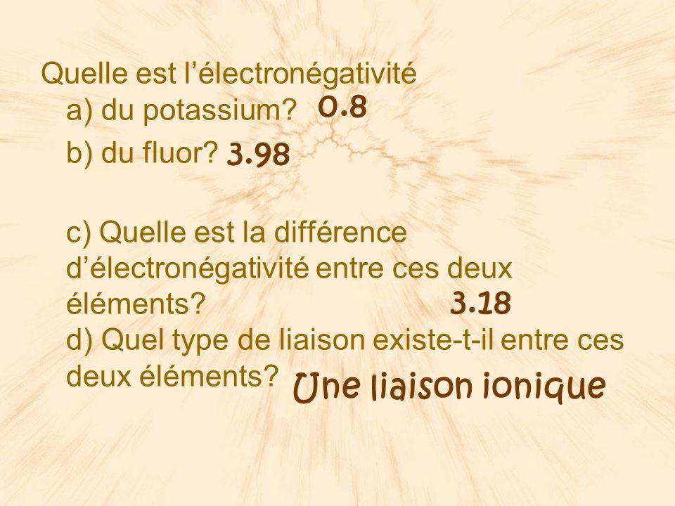 e) Représente cette liaison par la notation de Lewis K F... x K +1 F -1 K +1 + F -1