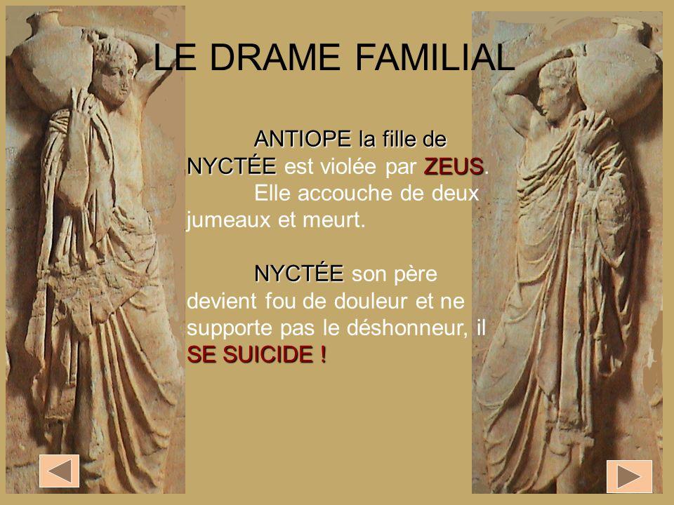 ANTIOPE la fille de NYCTÉEZEUS ANTIOPE la fille de NYCTÉE est violée par ZEUS. Elle accouche de deux jumeaux et meurt. NYCTÉE SE SUICIDE ! NYCTÉE son