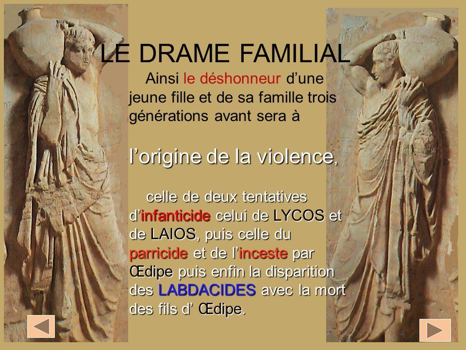 Ainsi le déshonneur dune jeune fille et de sa famille trois générations avant sera à lorigine de la violence, celle de deux tentatives dinfanticide ce