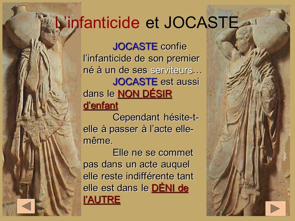 JOCASTE confie linfanticide de son premier né à un de ses serviteurs… JOCASTE est aussi dans le NON DÉSIR denfant Cependant hésite-t- elle à passer à