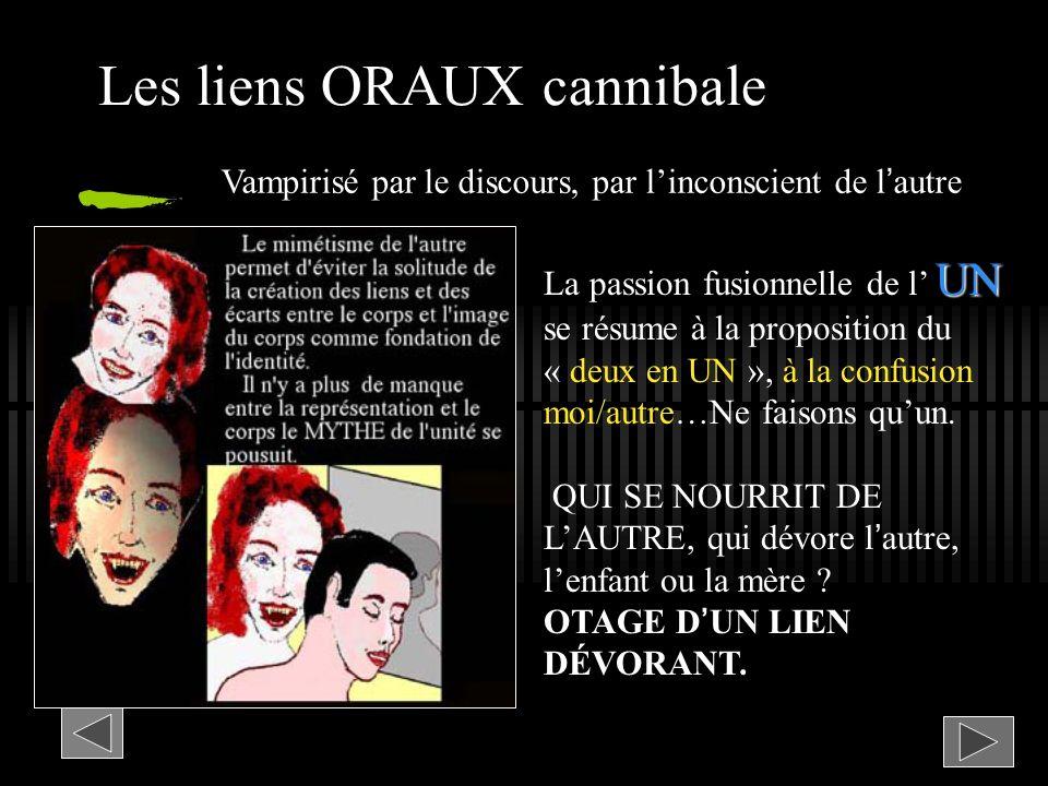 Les liens ORAUX cannibale UN La passion fusionnelle de l UN se résume à la proposition du « deux en UN », à la confusion moi/autre…Ne faisons quun. QU