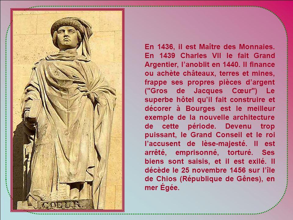 En France, cest la guerre de Cent Ans. Jacques Cœur est né vers 1395 à Bourges, capitale du Duché de Berry. Ce fils dun riche bourgeois se marie avec