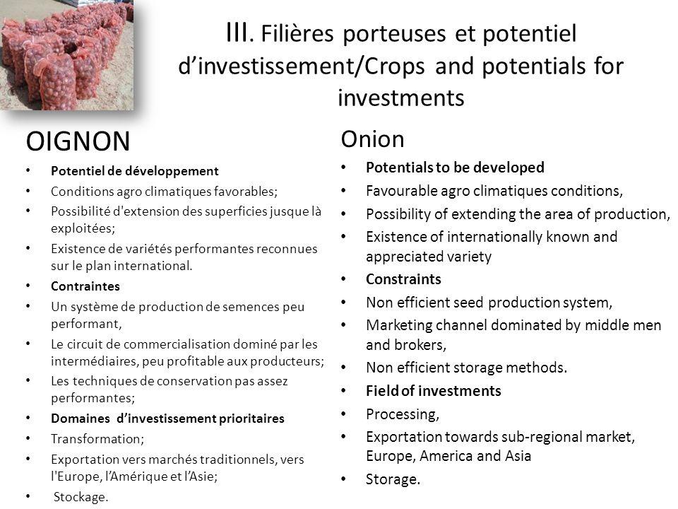OIGNON Potentiel de développement Conditions agro climatiques favorables; Possibilité d extension des superficies jusque là exploitées; Existence de variétés performantes reconnues sur le plan international.